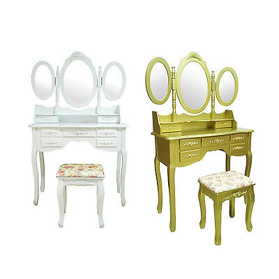 White Gold 7 Drawers 3 Mirrors Makeup Writing Desk Dressing Table Free Stool Set