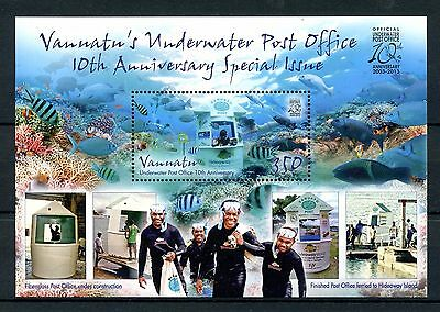 Vanuatu 2013 MNH Underwater Post Office 10th Anniv Special 1v S/S Diving Stamps