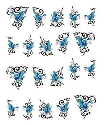 Stickers ongles Nail Art autocollant décalco water decal PAPILLON BLEU 026