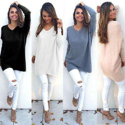 Womens Ladies V-Neck Chunky Knitted Oversized Sweater Sweatshirt Jumper Blouse