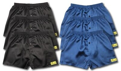 6 Pack Of Satin Boxer Shorts Navy Black All Sizes Available S M L Xl Xxl S602