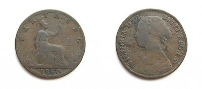 Victoria 1860 Bronze Farthing - Extremely Rare Tb/bb Mule