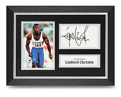 Linford Christie Signed A4 Photo Framed Olympics Memorabilia Autograph Display