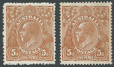 Australia KGV 5d Brown Single Watermark MH