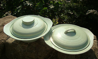 2 x Vintage Woods Beryl Ware Lidded Tureen - Pale Green - Good Used Condition