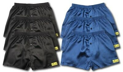6 Pack Of Satin Boxer Shorts Navy Black All Sizes Available S M L Xl Xxl S621