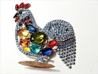 Large free standing cockerel rooster ornament Czech glass rhinestones Easter