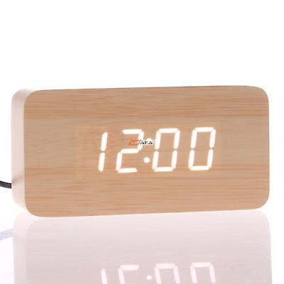 Rectangle Wooden LED Digital Wood Alarm Calendar Thermometer Desk Clock Decor