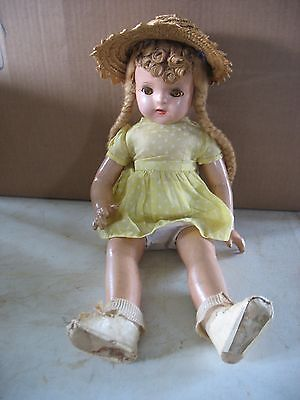 """Antique  20"""" Composition Girl Doll Sleep eyes braids Open mouth w teeth Dressed"""
