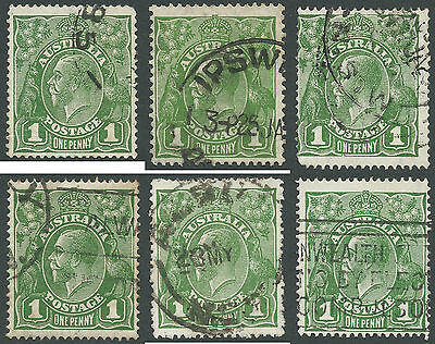 Australia KGV 1d Green Used with Varieties