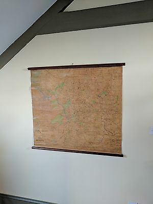 Map of Bristol UK Old Cloth Silk Scroll Ordinance County Severn Vintage Rustic