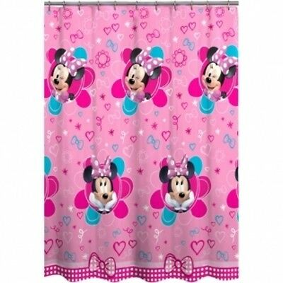 Disney Minnie Mouse Fabric Shower Curtain Pink Flowers Hearts Bow PEVA
