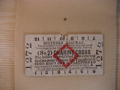 Southern Railway Red Diamond Platform Ticket  (No.2) CHARING CROSS  1272