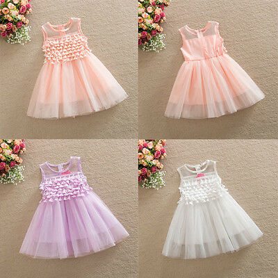 Girls Dress TASSEL Vintage Lace Tulle TuTu Party Birthday Dress 1-7 years