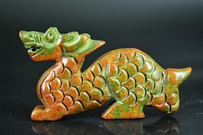Delicate Chinese old jade carved Auspicious dragon statue JP193