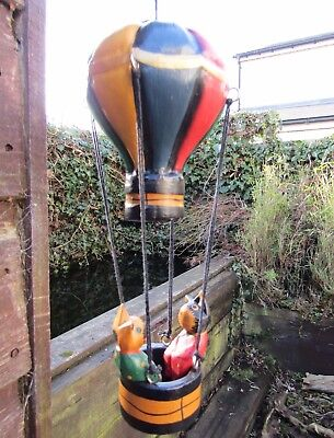 Fair Trade Hand Carved Made Wooden Cat Hot Air Balloon Hanging Ornament Mobile