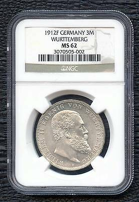 1912 'F' Germany 3 Mark Coin Cased NGC MS62 (16.667 Grams .900 Silver)