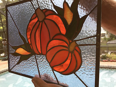 LEADED STAINED GLASS Autumn PUMPKINs Indian Corn HARVEST Garden WINDOW Decor
