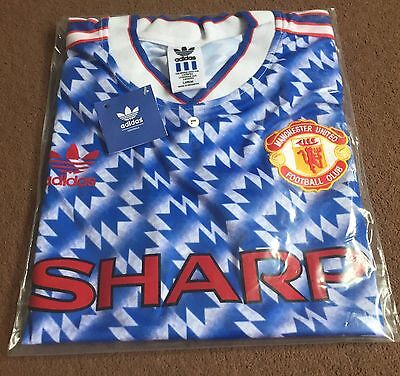 Manchester United 1990-1992 Retro Away Shirt Large FREE POST
