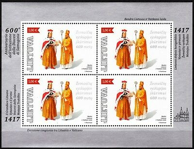 LITHUANIA 2017-04 Religion: Diocese of Zemaitija. Joint Vatican. MINI-SHEET, MNH