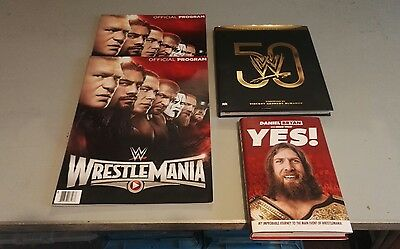 WWE WRESTLEMANIA 31  EVENT  PROGRAMME X 2 & 2other books job lot
