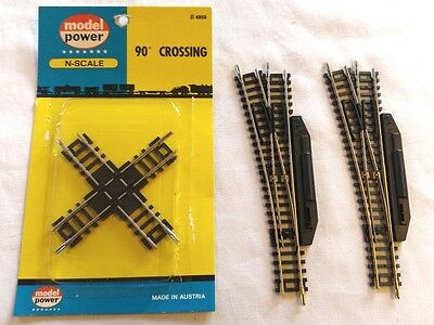 2 Roco Manual Left Hand Points + Model Power Crossover - N Gauge