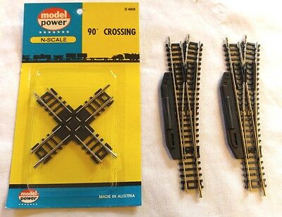 2 Roco Manual Right Hand Points + Model Power Crossover - N Gauge