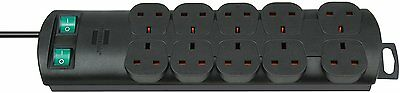 Brennenstuhl Primera Line Extension Lead Socket 10 Way Black 2m 1153303120