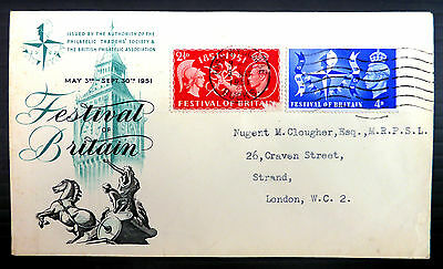GB 1951 Festival of Britain Souvenir FDC 3rd May with Scratch on 2½d XY21