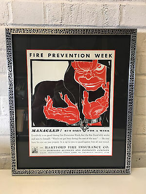 Vintage Hartford Fire Insurance Co Fire Prevention Week Poster Manacled For Week