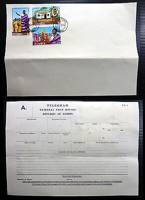 ZAMBIA 1974 Birthday OPT on Telegram Form XZ4