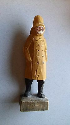 """Old Antique(?) Wooden Carved and Painted Man 12"""" Tall"""