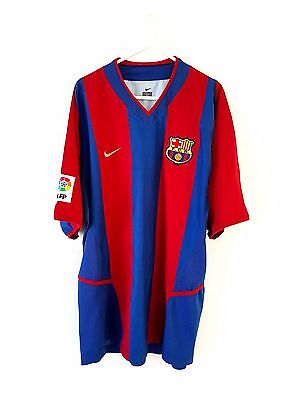 Barcelona Home Shirt 2002. Large. Nike. Red Adults L Short Sleeves Football Top.