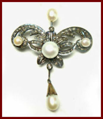 1.25 Ct Natural Rose Cut Diamond Pearl Victorian Reproduction Brooch Certified