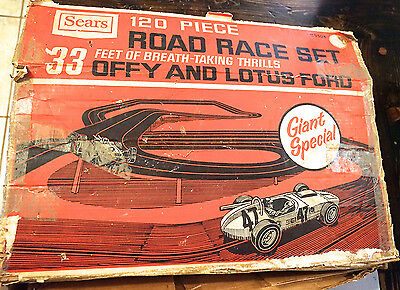 Vintage Sears Road Race Slot Car Set.  Offy and Lotus Ford. 33' track. Marx?