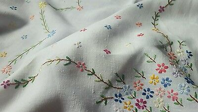 Hand embroided vintage table cloths tea party rayon cotton linen