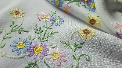 Hand embroided table cloths vintage tea party rayon cotton linen
