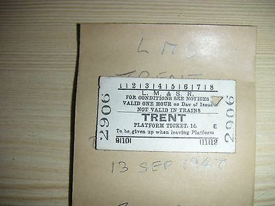 LMS Railway Platform Ticket TRENT   2906      Dated  13th SEP 1947