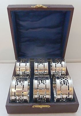 Boxed Set 6 Six Hallmarked Art Deco Solid Silver Napkin Rings B'ham 1919