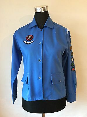 Vintage Official Girl Guide Blouse Uniform With Badges Including Queen's Badge