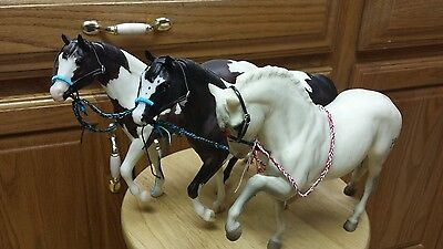 Breyer horse custom western bridles or bosals lot three