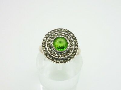 Antique Art Deco Rolled Gold & Silver Paste & Marcasite Cocktail Ring Size O 1/2