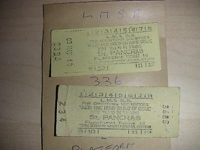 LMS SR Railway Platform Ticket ST PANCRAS 0333 Dated 3 MAY1953 & 3486 234 2items