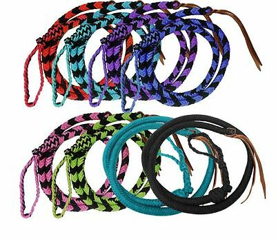 Showman OVER & UNDER Round Braided 4.5 ft Nylon Leather Popper & Knot Loop WHIP