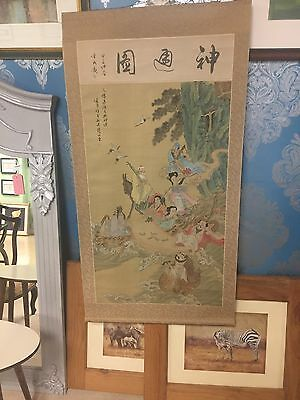 Vintage Chinese / Japanese Silk Picture Scroll Hand Painted