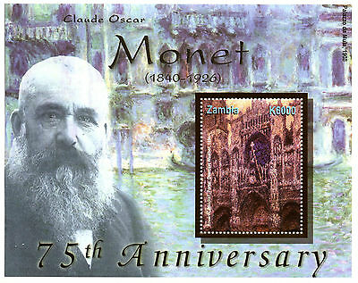 Zambia 2001 MNH Claude Oscar Monet 75th Anniv 1v S/S Art Paintings Stamps