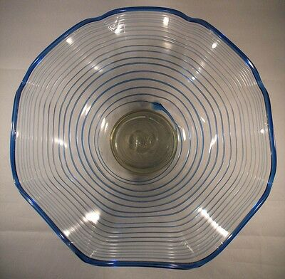 Large Strapped & Ruffled Art Glass Bowl/Centrepiece