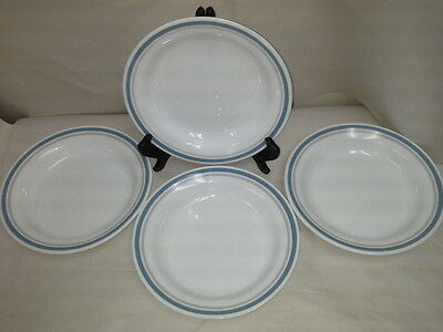 "Corelle by Corning SLATE blue and gray rimmed 8 1/2"" Soup Cereal bowls Set of 4"