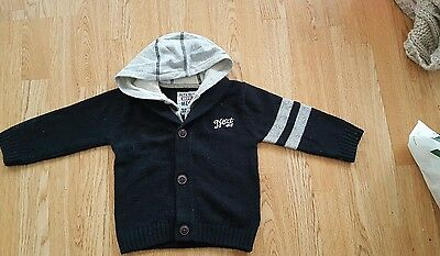 BABY Boys Next Buttoned Jumper Jacket with Hood Hoodie 18-24 Months