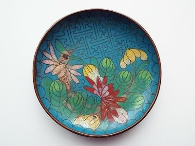 Antique Gorgeous Blue Yellow Enamel FLORAL Chinese Cloisonne Dish Bowl SMALL